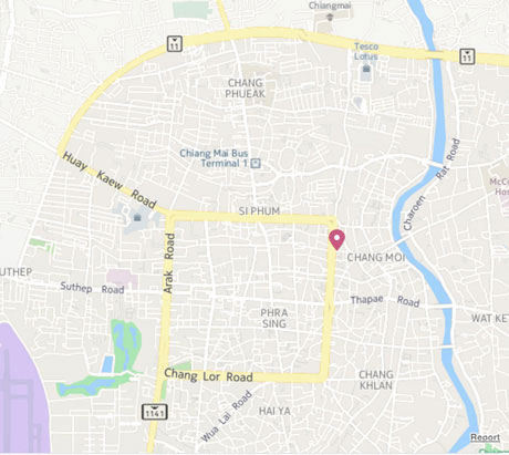 Click here to find Stamps Backpackers Hostel Chiang Mai on Google Maps